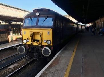 Train pulling into Colwyn Bay